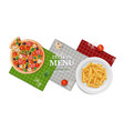 italian menu banner pizza pasta on plate napkins vector image