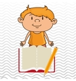 kid with book and pencil isolated icon design vector image