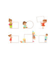 kids holding blank banners collection happy vector image vector image