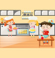 kitchen scene with girls baking and boy eating vector image vector image