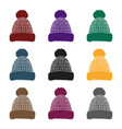 knit cap icon in black style isolated on white vector image vector image