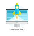 Launching Ideas Startup Concept Flat Design Rocket vector image