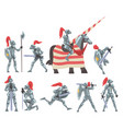 medieval knights set chivalry warrior characters vector image vector image