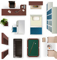 Modern Interior Elements Realistic Top View vector image vector image