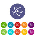 molecule icons set color vector image