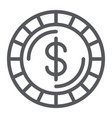 money coin line icon finance and money cent sign vector image