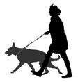 owner woman and dog walking silhouette vector image