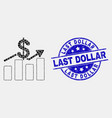 pixelated dollar trends icon and scratched vector image vector image