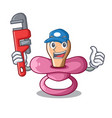 plumber baby silicone pacifier isolated on mascot vector image vector image