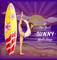 pop art surfing girl on holidays vector image