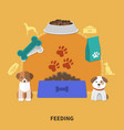 puppy feeding flat composition vector image
