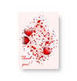 rectangular card with scarlet hearts vector image vector image