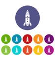 rocket exploration icons set color vector image vector image