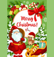 santa claus card for christmas holiday celebration vector image vector image