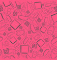 seamless pattern with outlined school items vector image