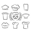 set of chef hats with cook man in white headwear vector image vector image