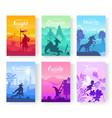 set of diverse fantasy worlds vector image