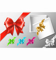 set of multicolored bows with diagonally ribbons vector image
