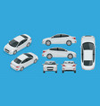 set of sedan cars compact hybrid vehicle eco vector image vector image