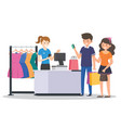 shopping in cloth store vector image vector image