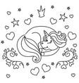 sleeping little unicorn vector image vector image