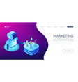 social media automation tools isometric 3d landing vector image vector image