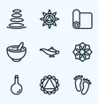 spiritual icons line style set with spa stones vector image