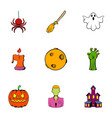 spooky holiday icons set cartoon style vector image vector image