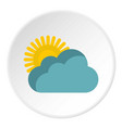 sun behind clouds icon flat style vector image vector image