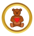 Teddy bear with red heart icon vector image vector image