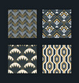 vintage abstract art deco gold pattern set vector image vector image