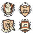 vintage colored university emblems set vector image vector image