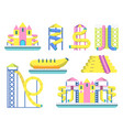 water park with various slide for children vector image vector image