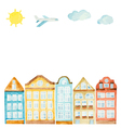 Watercolor house clouds airplane vector image