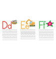 writing practice letters def education for kids vector image vector image