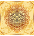 lion head with baroque ornament vector image