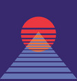 abstract background with sun and pyramid in retro vector image
