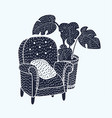 black and white armchair vector image