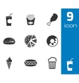 black fast food icons set vector image