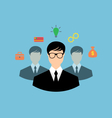 Businessman around icons social media networks and vector image vector image