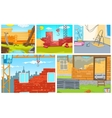 Cartoon set of backgrounds - construction sites vector image