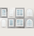 closed realistic glass windows set with shadows vector image vector image
