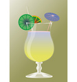 Cocktail glass with umbrellas and margarita drink vector image