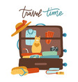 colorful pet traveling concept with cat sitting vector image