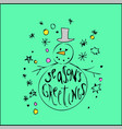 cute christmas card snowman on blue background vector image