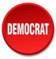 democrat red round flat isolated push button vector image vector image