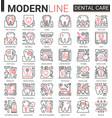 dental care medicine thin red black line icons vector image