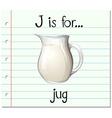 Flashcard letter J is for jug vector image vector image