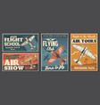 flight school tours and club posters aviation vector image vector image