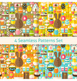 Four Flat Happy Easter Seamless Patterns Set vector image vector image